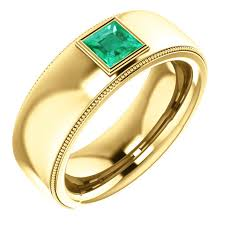 ring men mens modern 14k 18k yellow gold comfort band emerald ring j r jewels