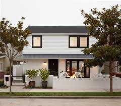 White House With Black Trim Front Entrance Garden Designs Exterior Transitional With Tree