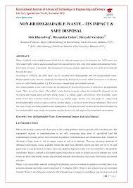 non biodegradable waste u2013 its impact u0026 safe disposal pdf download