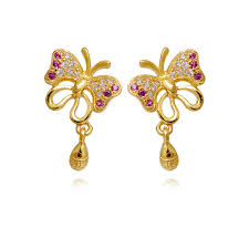 earrings in grt earrings day flying color butterfly gold earring grt