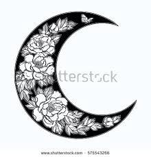 beautiful crescent moon peony stock vector 575543266