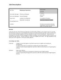 Logistics Responsibilities Resume 2016 Warehouse Job Description Samplebusinessresume Com