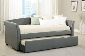 Daybed Trundle Bed New Gray Upholstered Bycast Leather Day Bed With