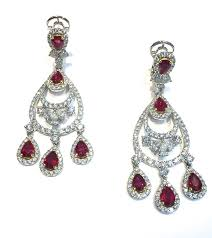 diamond chandelier earrings ruby and diamond chandelier earrings sheryl jones designs