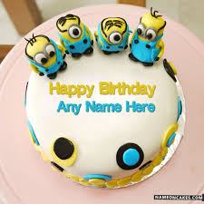 minions happy birthday cakes for kids with name