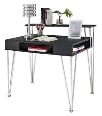 light brown lacquer birch wood computer desk with monitor stand f