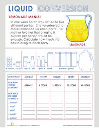 liquid measurement word problem word problems worksheets and words