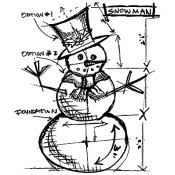 brett weldele cling mount stamps blizzy the happy snowman bwc015