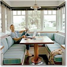 kitchen table with booth seating i can envision doing this with one o the seating sections being able