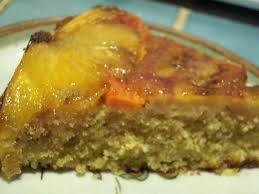 tropical upside down cake with pineapple banana and papaya