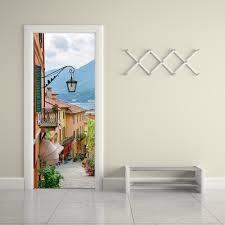 creative diy 3d door mural wallpaper sticker old town village
