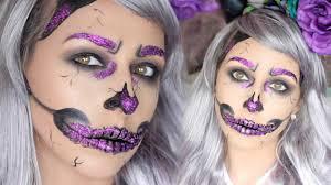 purple glitter skull halloween make up tutorial dramaticmac