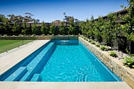 decor backyard landscape ideas with rectangular pool design and