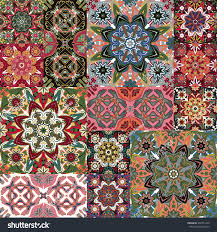 islamic damask patchwork backgrounds colorful set stock vector