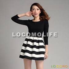 zip up black white three quarter sleeve stripes pleated dress l