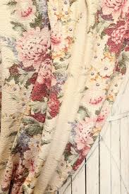 Vintage Floral Curtains Vintage 1930s Peony Cabbage Roses Floral Nubby Barkcloth Fabric