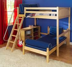 bedroom oak wood bunk beds with stairs and tufted bed with blue