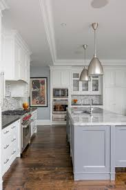 kitchen cabinets gray bottom white top leaside custom home transitional kitchen toronto by