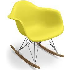 chaise bascule eames fauteuil à bascule jaune mat inspiré charles eames lestendances fr