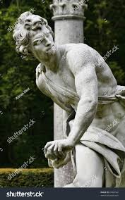statue david killing goliath slingshot english stock photo