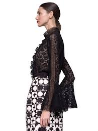 oscar de la renta lace long sleeve blouse in black lyst