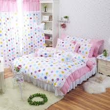 Polka Dot Comforter Queen Rainbow Polka Dot Girls Princess Room Ruffle Bedding Girls Lace