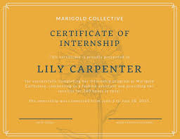 yellow and blue illustrated flower internship certificate