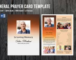Funeral Card Template Funeral Card Etsy