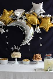 Planet Gold Decor Birthday Desert Table Ideas Gold And Silver Stars And Moon