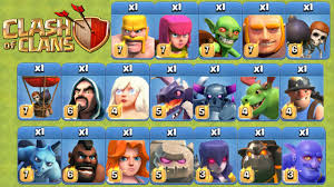 clash of clans all troops clash of clans funny attacks with 1 of every single max level