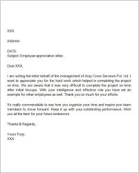 thank you letter for appreciation sample of letter of