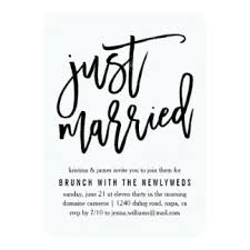 wording for day after wedding brunch invitation just married invitations announcements zazzle