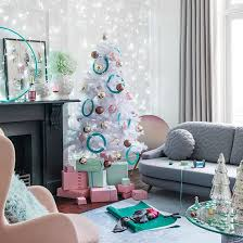 elegant round wall mirror pastel living room christmas tree and
