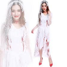Dead Bride Costume Exotic Women Halloween Ghost Bride Cosplay Costume White