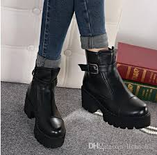 womens black leather boots australia 2015 stylenanda fashion buckle platform chunky heel shoes brown