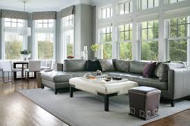 Contemporary Cornice Gray Leather Sectional Family Room Transitional With Bookcase