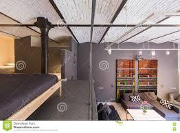 mezzanine apartment in industrial style stock photo image 74212419