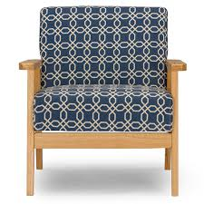 Contemporary Accent Chairs For Living Room Baxton Studio Francis Retro Mid Century Navy Blue Patterned Fabric