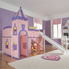 kids room large pink purple princess castle loft bed with tower