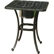 Patio Table Umbrella Insert Darlee Series 30 Cast Aluminum Patio End Table With Ice Bucket