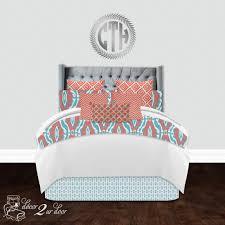 Custom Girls Bedding by Coral U0026 Aqua Ikat Designer Custom Teen Apartment U0026 Dorm Room