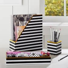 printed desk accessories black white stripe with gold trim pbteen