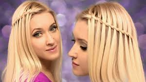 easy hairstyles for medium length hair step by step waterfall braid hairstyle for medium long hair tutorial for