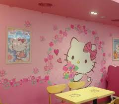 cute display adorning wall kitty cafe myeongdong