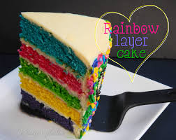 rainbow layered birthday cake in prosciutto of perfection