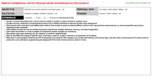 Sample Artist Resume by Commercial Diver Resumes Samples