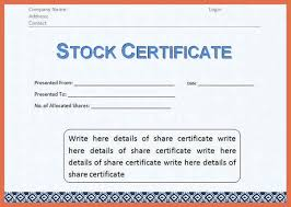 stock certificate template word bio example