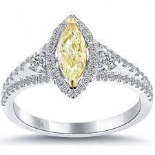 fancy yellow diamond engagement rings 1 16 carat fancy yellow marquise shape diamond engagement ring 18k