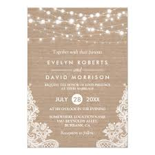 lace invitations rustic country burlap string lights lace wedding card zazzle