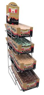 fudge boxes wholesale 5 fudge chrome display rack 4 flavours 4 levels brittles n more
